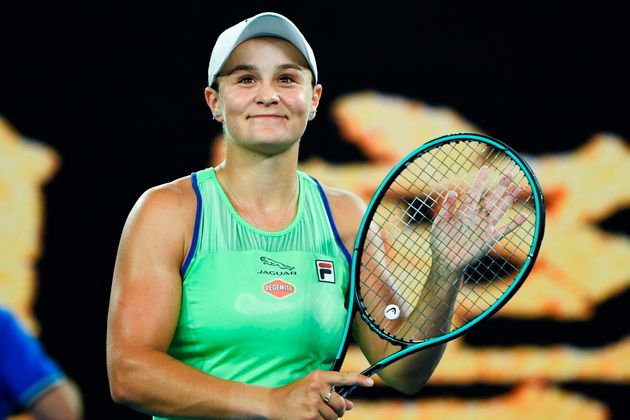 Australia's Ash Barty celebrates her victory against Ukraine's Lesia Tsurenko during their women's singles...
