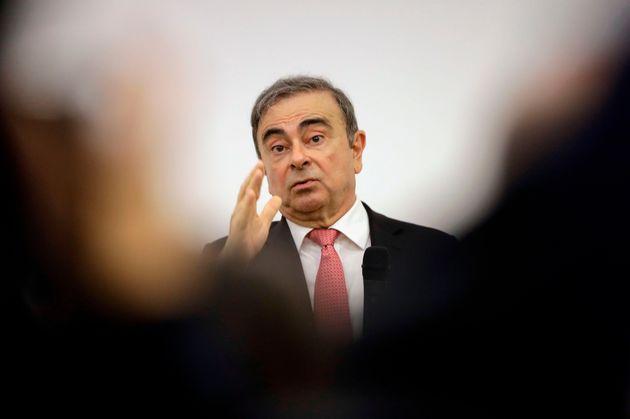 1月8日 レバノンで開かれた会見でのゴーン被告の様子