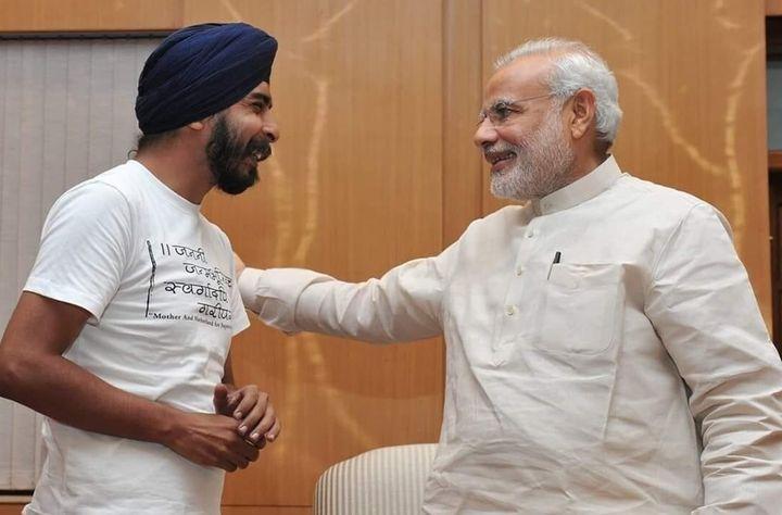 Tajinder Bagga with Prime Minister Narendra Modi.