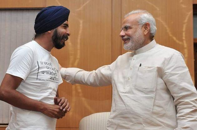 Tajinder Bagga with Prime Minister Narendra