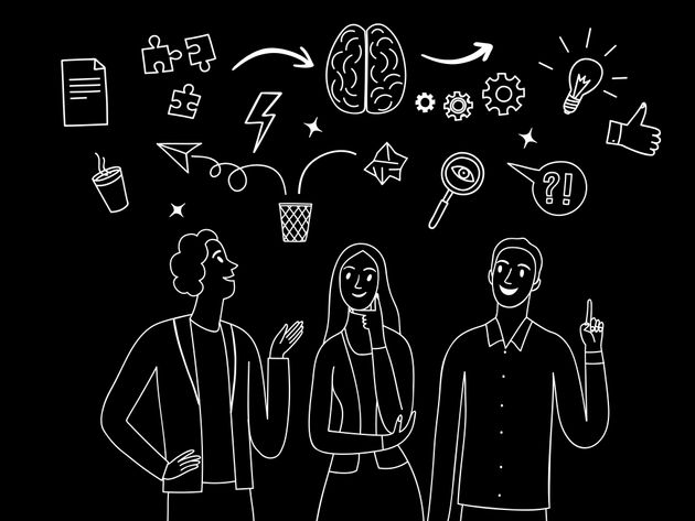 People talking and thinking together. White on black drawing. Including doodle elements. Brainstorm and...