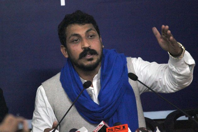 Bhim Army Chief Chandrashekhar Azad during a press conference at Indian Women's Press Club, on January...