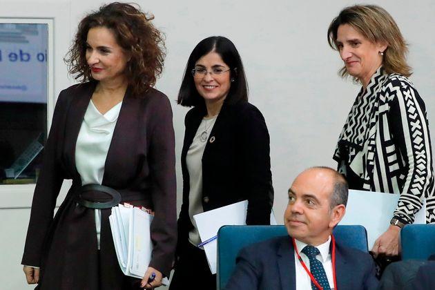Montero, Darias y Ribera, después de la reunión del Consejo y antes de dar la rueda de...