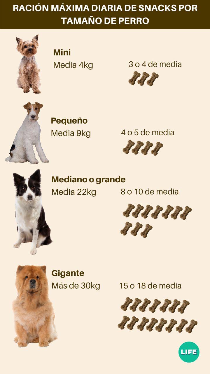 Dosis de snacks diarias por tamaño de perro.