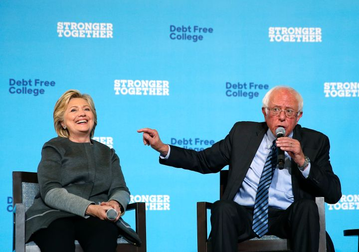 Clinton and Sanders campaigning together at the University of New Hampshire in Durham, New Hampshire, on Sept. 28, 2016.