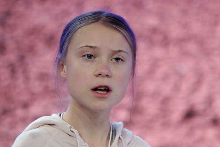 Swedish environmental activist Greta Thunberg addresses guests at the World Economic Forum in Davos, Switzerland on Tuesday.