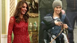 Meghan fa la mamma con cane e marsupio, Kate si atteggia a regina e fa tendenza (con un abito da 500
