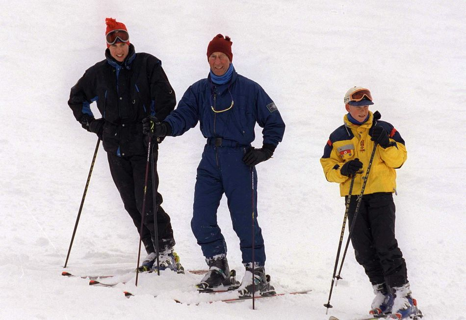 During a family holiday at the Whistler Mountain Resort in B.C., Harry, William, and Charles hit the slopes in March, 1998.