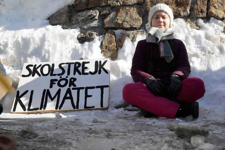 <strong>Greta Thunberg poses for media in Davis last year.</strong>