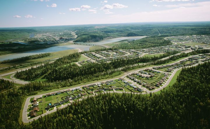 An aerial view of Fort McMurray, Alta.