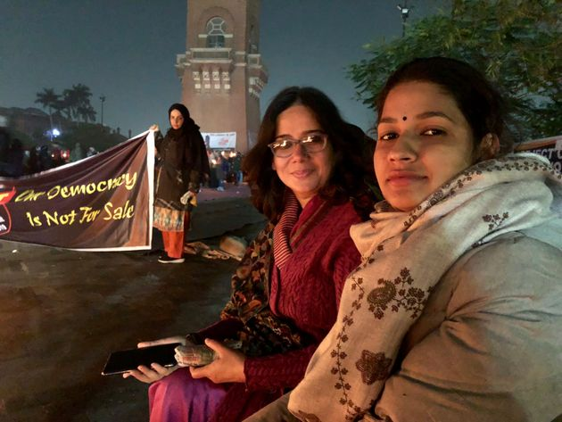 (From left) Political activists Sadaf Jafar and Pooja Shukla at the anti-CAA protests in Lucknow...