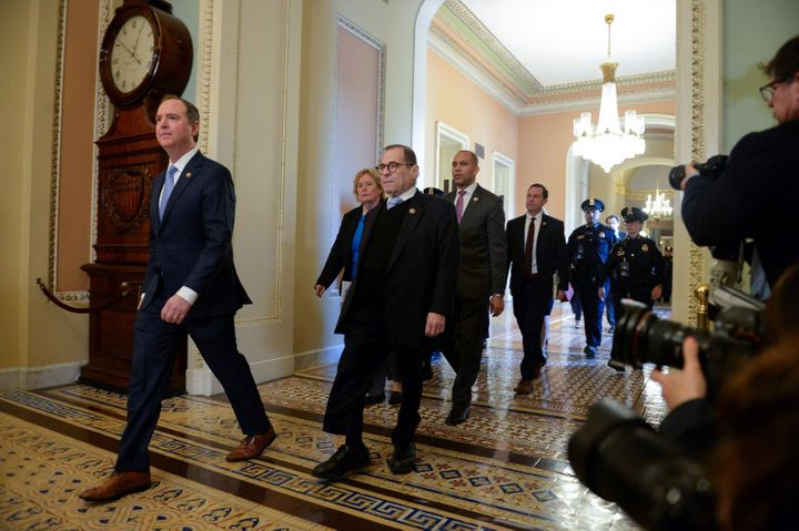 House Managers Rep. Adam Schiff and Rep. Jerry Nadler walk to the Senate Floor in Washington, U.S. on Jan. 21, 2020.
