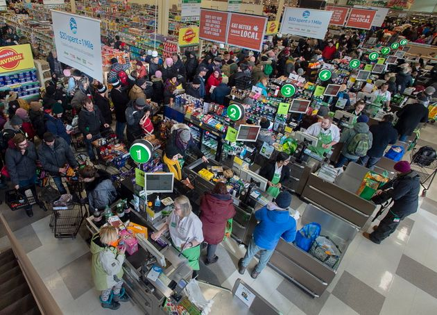 Customers pack a Sobeys grocery store in St. John's on Jan. 21,