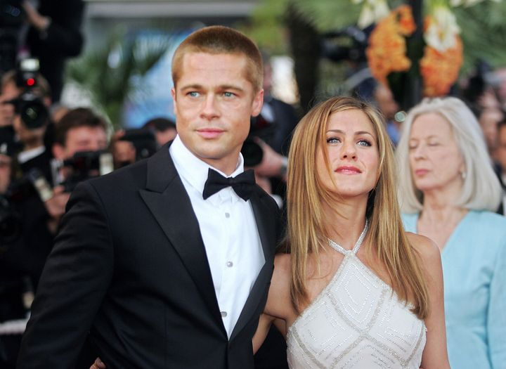 "Before the split: The couple arrive at the Cannes Film Festival for the official release of ""Troy"" on May 13, 2004."