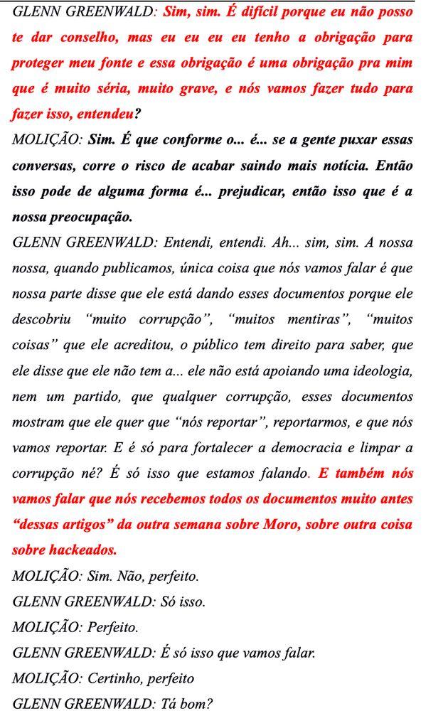 Trechos da transcrição do áudio de Glenn comLuiz Henrique Molição,...