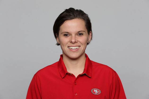 This is a 2019 photo of Katie Sowers of the San Francisco 49ers NFL football team. This image reflects...