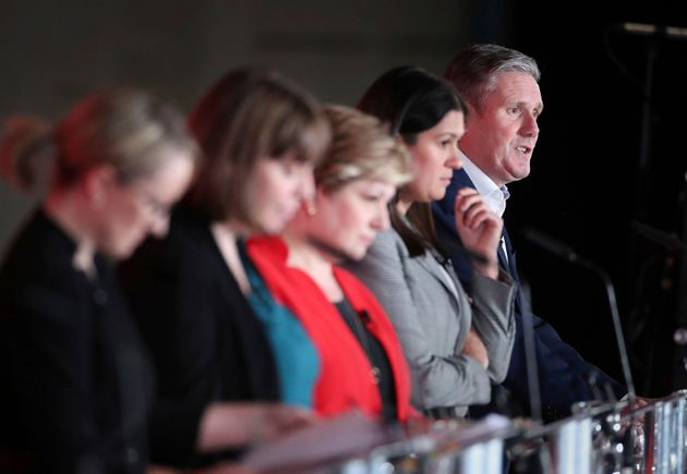 Rebecca Long-Bailey, Jess Phillips, Emily Thornberry, Lisa Nandy and Keir Starmer during the first Labour...