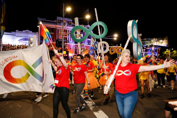 SYDNEY, AUSTRALIA - MARCH 02: Parade goers during the 2019 Sydney Gay & Lesbian Mardi Gras Parade on March 02, 2019 in Sydney, Australia.  The Sydney Mardi Gras parade began in 1978 as a march and commemoration of the 1969 Stonewall Riots of New York. It is an annual event promoting awareness of gay, lesbian, bisexual and transgender issues and themes. (Photo by Hanna Lassen/WireImage)
