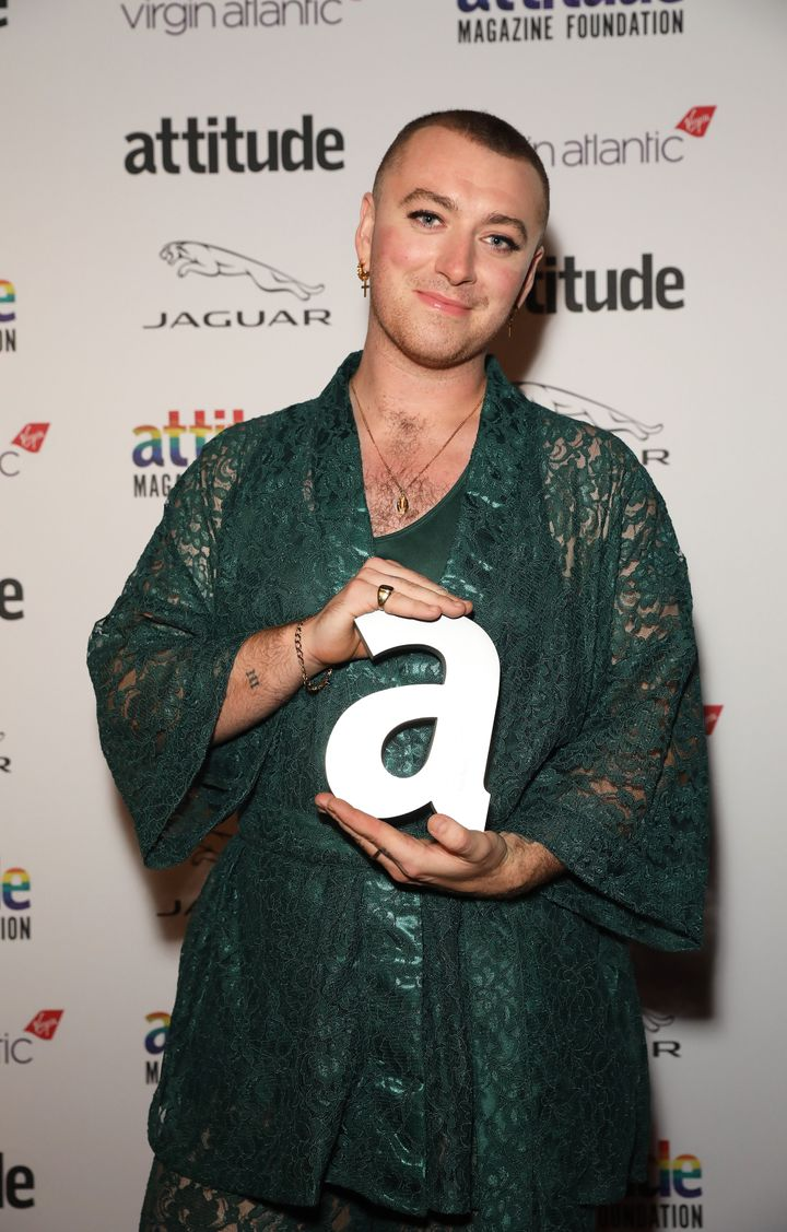 LONDON, ENGLAND - OCTOBER 09: Sam Smith winner of the Person of the Year award poses in the Winners Room at the Virgin Atlantic Attitude Awards 2019 at The Roundhouse on October 09, 2019 in London, England. (Photo by David M. Benett/Dave Benett/Getty Images)