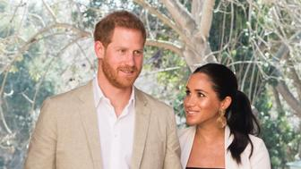 RABAT, MOROCCO - FEBRUARY 25:   Prince Harry, Duke of Sussex and Meghan, Duchess of Sussex visit the Andalusian Gardens to hear about youth empowerment in Morocco from a number of young social entrepreneurs on February 25, 2019 in Rabat, Morocco.  ^. (Photo by Samir Hussein/WireImage)