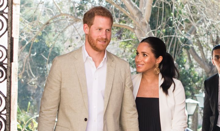 The Duke and Duchess of Sussex visit the Andalusian Gardens to hear about youth empowerment in Morocco on Feb. 25, 2019 in Ra