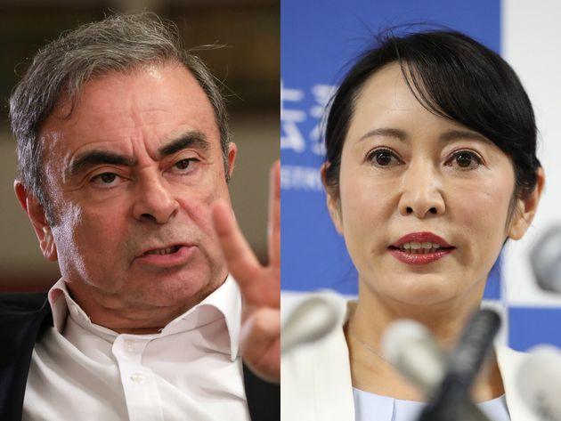 左:カルロス・ゴーン被告 右:森雅子法務大臣