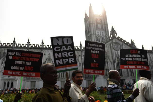 Protest against NRC, CAA, NRP, at St. Paul Cathedral Church on January 20, 2020 in