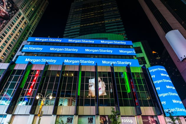 New York City, USA - July 30, 2018: Headquarters of Morgan Stanley at night on Broadway Avenue next to...
