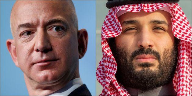 Jeff Bezos y Mohamed Bin Salman, en sendas imágenes de