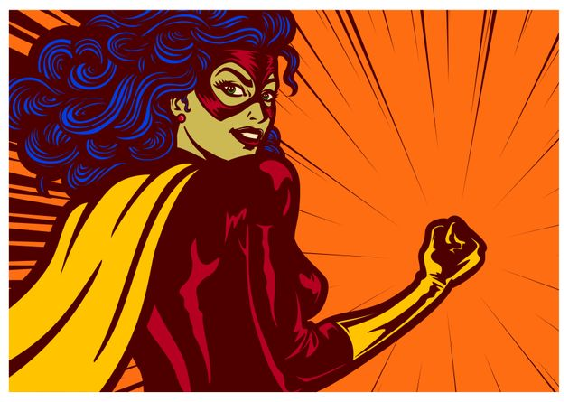 Pop art comic book style super heroine with clenched fist female superhero vector