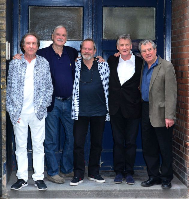 The Monty Python troupe pictured in