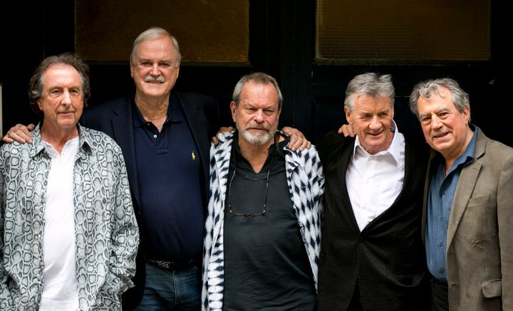 In this June 30, 2014, file photo, from left, Eric Idle, John Cleese, Terry Gilliam, Michael Palin and Terry Jones of the com