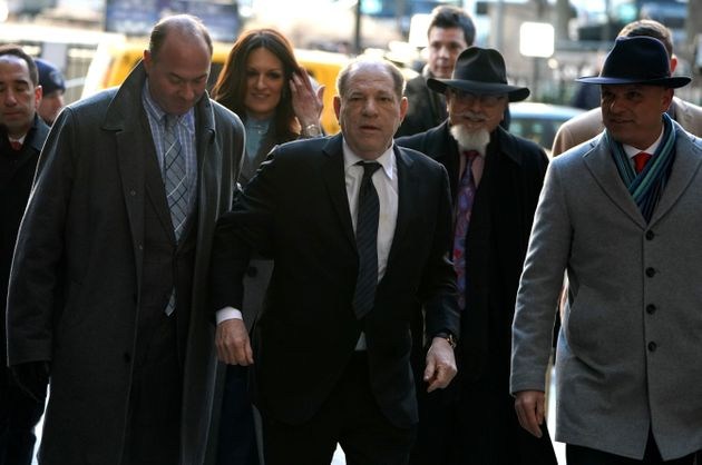 Harvey Weinstein arrives at the Manhattan Criminal Court on Jan. 22 for opening arguments in his rape...