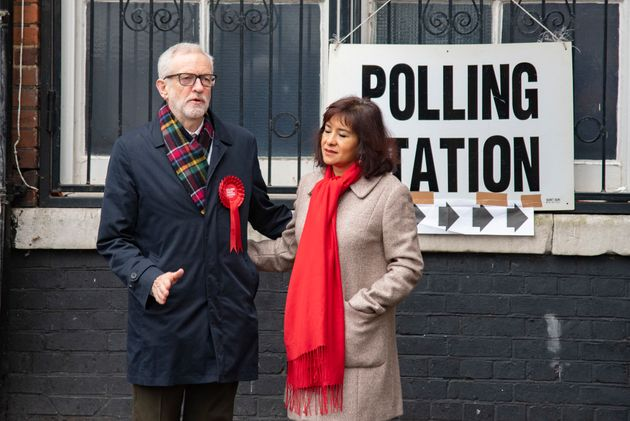 Jeremy Corbyn and his wife Laura Alvarez on polling day in the 2019