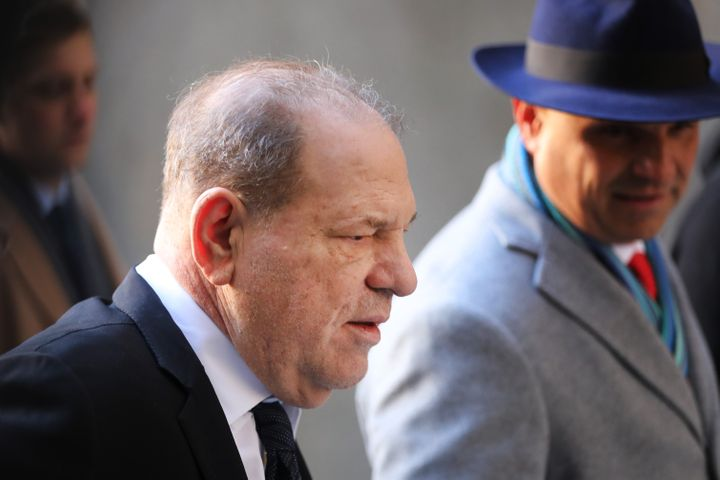 Harvey Weinstein arrives at a courthouse in New York City on Jan. 22, 2020. Weinstein is not allowed to leave New York or Connecticut under his bail conditions.