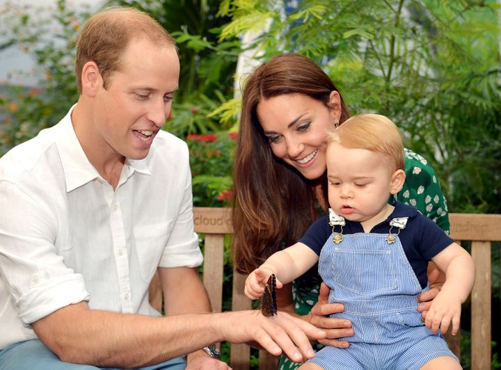 The Duke and Duchess of Cambridge with Prince George at the Sensational Butterflies exhibition at London's Natural History Museum in July 2014.