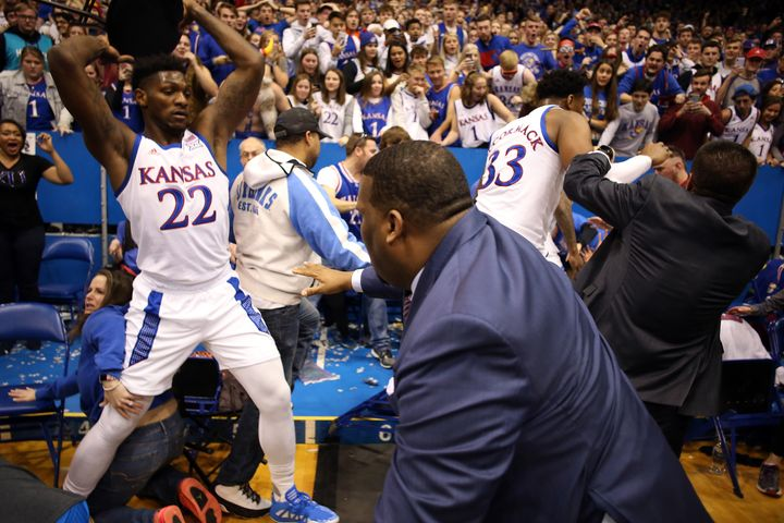 Silvio De Sousa of Kansas University was suspended indefinitely for his role in the melee.