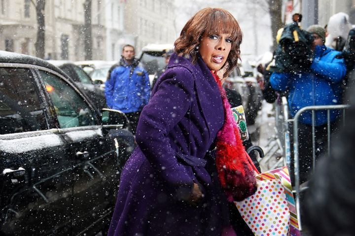 Gayle King arrives at a hotel for a baby shower for Meghan, Duchess of Sussex in New York on Feb. 20, 2019.