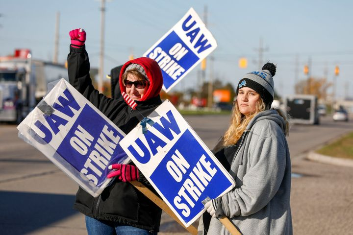 United Auto Workers members on a picket line last year in Flint, Michigan.