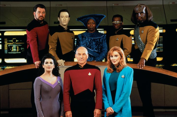 """Portrait of the cast of """"Star Trek: The Next Generation,"""" in 1987. Pictured are (front) Marina Sirtis, Patrick Stewart, Gates"""