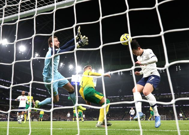 LONDON, ENGLAND - JANUARY 22: Heung-Min Son of Tottenham Hotspur scores his sides second goal during...