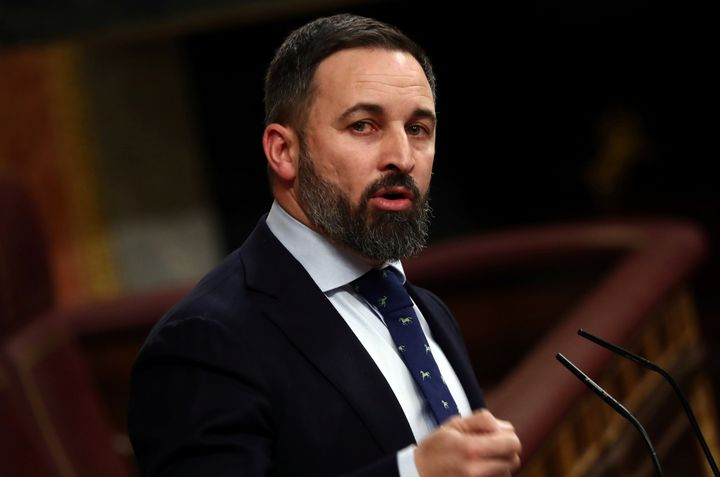 "Santiago Abascal, leader of the far-right Vox party, has declared a ""war without a barracks."""