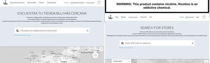 La web de blu y sus productos en España (izquierda) omite la advertencia de que la nicotina es adictiva, que sí aparece en la web estadounidense.