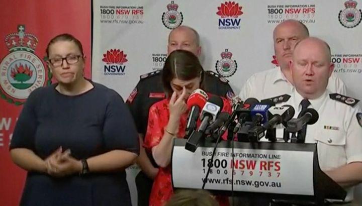 NSW Premier Gladys Berejiklian and RFS Commissioner Shane Fitzsimmons address the media on Thursday.