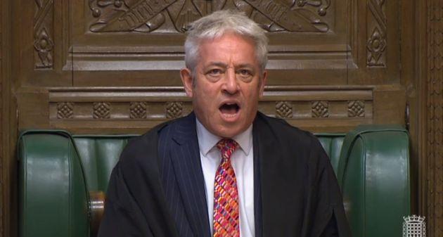 John Bercow durante una seduta della Camera dei Comuni britannica (Photo by House of Commons/PA...
