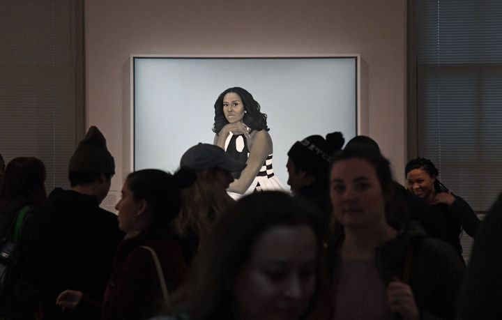 Crowds are often huddled around the portrait of Michelle Obama at the National Portrait Gallery.