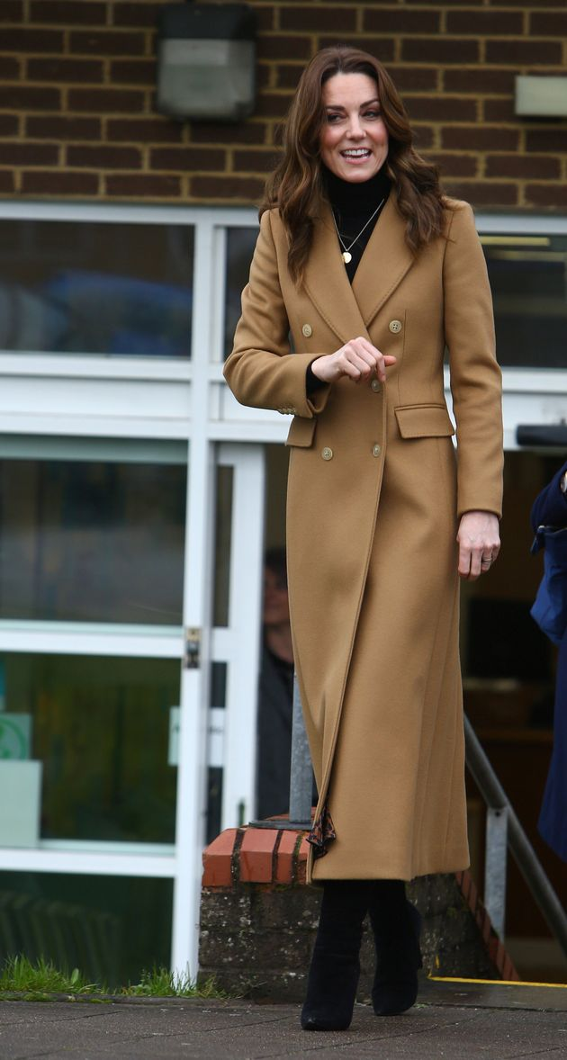 The Duchess of Cambridge leaves the Ely & Caerau Children's Centre in Cardiff, Wales on Jan. 22 after...