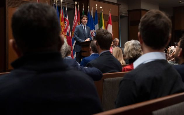 Prime Minister Justin Trudeau speaks to members of caucus on Parliament Hill in Ottawa on Jan. 23,