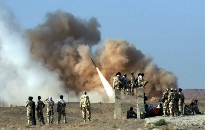 A Zelzal ballistic missile is launched during the second day of military exercises by Iran's elite Revolutionary Guard at an