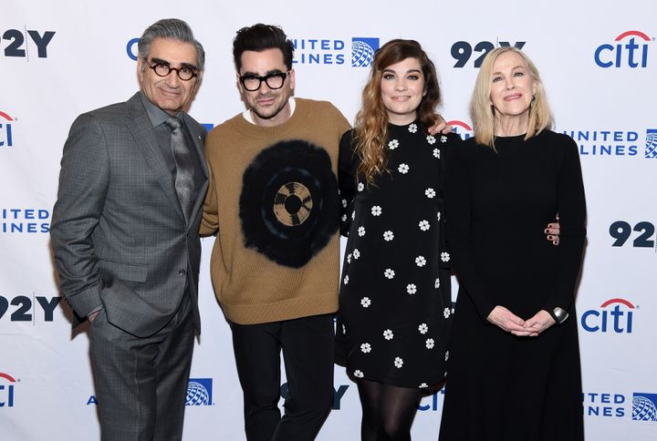 "Eugene Levy, Daniel levy, Annie Murphy and Catherine O'Hara attend the ""Schitt's Creek"" Screening & Conversation on Jan. 17, 2020 in New York City."